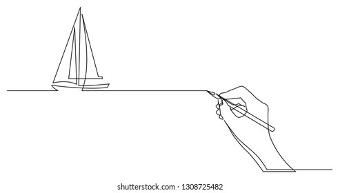 One Line Drawing Boat Images, Stock Photos & Vectors