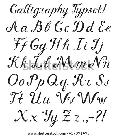 Hand Drawn Brush Calligraphy Alphabet Letters Stock Vector