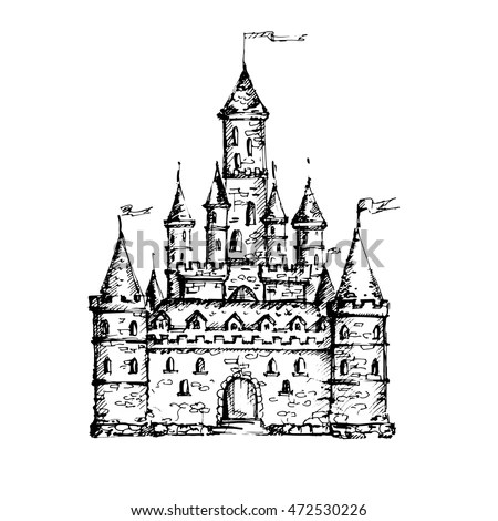 Hand Drawn Castle Isolated On White Stock Vector (Royalty