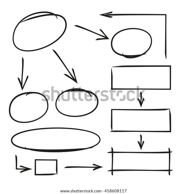 Hand Drawn Diagram Template Arrows Stock Vector (Royalty