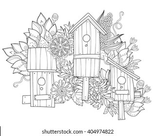 Birdhouse Coloring Images, Stock Photos & Vectors