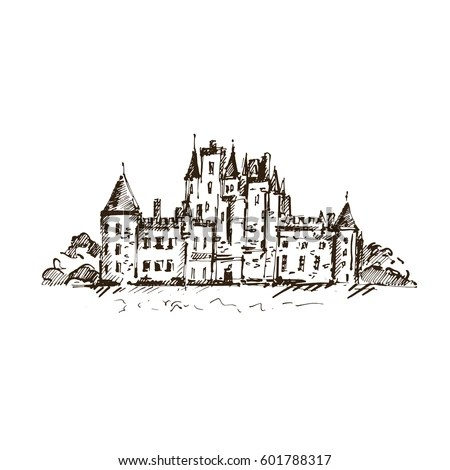 Hand Drawn Famous Old Castle Scotland Stock Vector