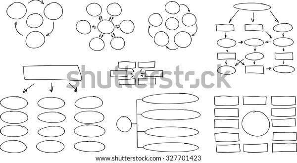 Hand Drawn Flow Chart Diagram Organization Stock Vector