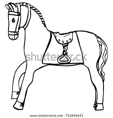 Hand Drawn Horse Saddle Harness Cartoon Stock Vector