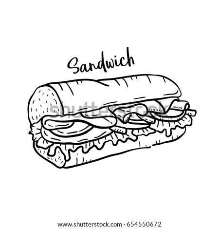 Hand Drawn Illustration Sandwich Stock Vector (Royalty