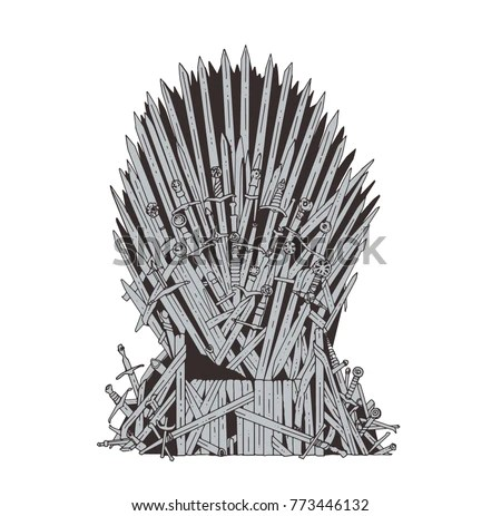 iron throne chair cover folding lawn chairs lowes hand drawn westeros made stock vector royalty free of antique swords or metal blades ceremonial