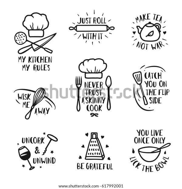 Hand Drawn Kitchen Posters Set Quotes Stock Vector