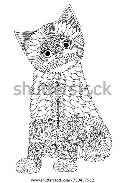 Hand Drawn Kitten Vector Illustration Coloring Stock