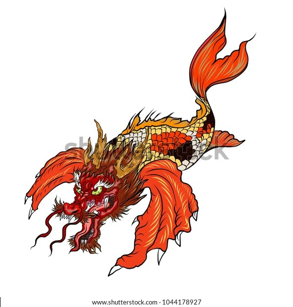 Hand Drawn Koi Fish Dragon Headjapanese Stock Vector Royalty Free 1044178927