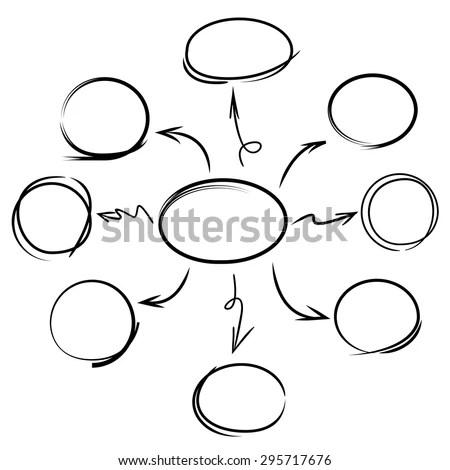 Hand Drawn Mind Mapping เวกเตอร์สต็อก (ปลอดค่าลิขสิทธิ์