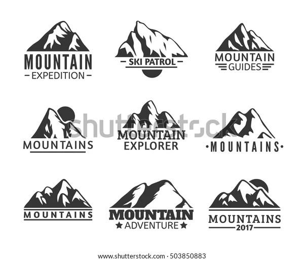 Hand Drawn Mountains Logo Set Ski Stock Vector (Royalty
