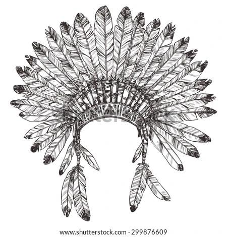 Hand Drawn Native American Indian Headdress Stock Vector