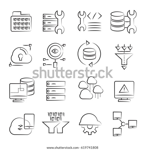 Hand Drawn Network Database Icon Set Stock Vector (Royalty