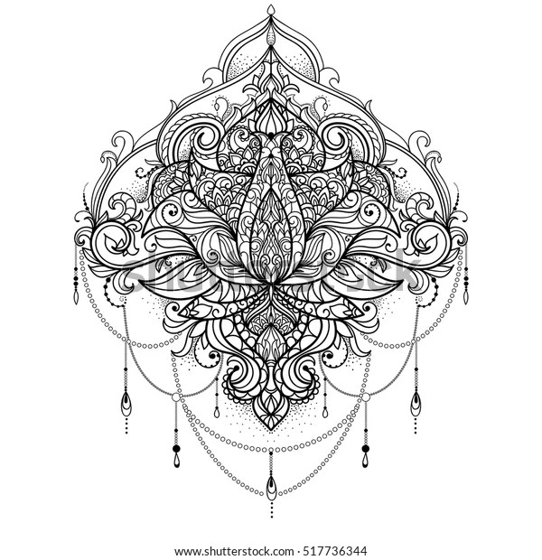 Hand Drawn Ornamental Lotus Flower Adult Stock Vector