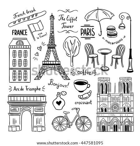 Hand Drawn Paris France Clipart Doodles Stock Vector