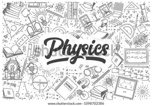 Hand Drawn Physics Doodle Set Lettering Stock Vector