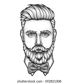 hand drawn man beard