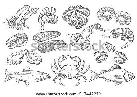 Hand Drawn Seafood Set Decorative Icons Stock Vector