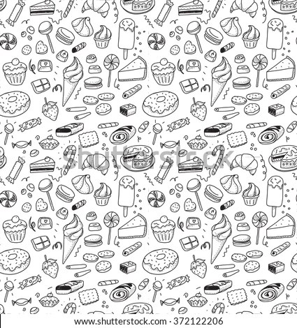 Hand Drawn Sweets Candies Pattern Vector Stock Vector