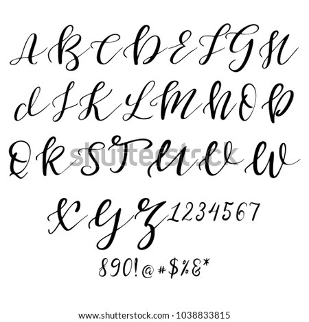 Hand Drawn Vector Alphabet Calligraphy Letters Stock