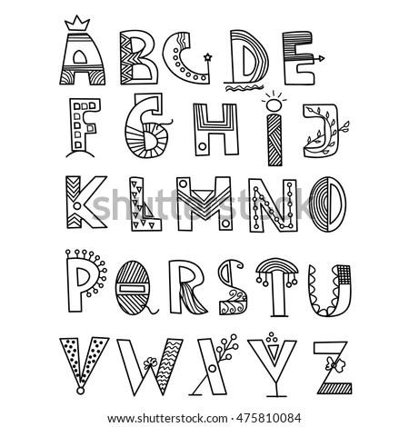 Hand Drawn Vector Alphabet Writing Style Stock Vector