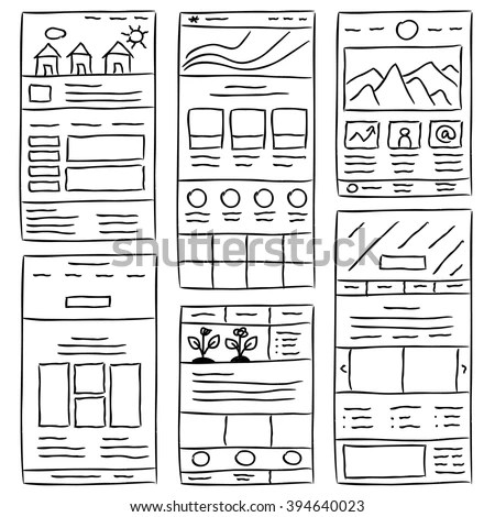 Hand Drawn Website Layouts Doodle Style Stock-Vektorgrafik