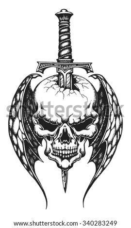 Hand Drawn Winged Skull Impaled On Stock Vector (Royalty