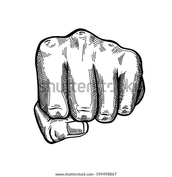 Hand Gesture Sketch Fist Sign Punch Stock Vector (Royalty