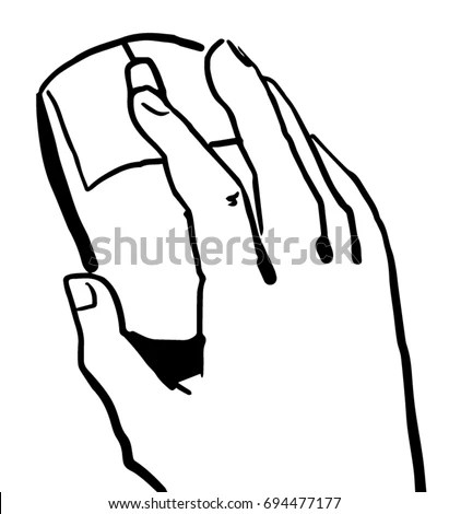 Hand Holding Computer Mouse Black White Stock Vector