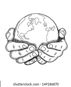 World In Hands Drawing : world, hands, drawing, Hands, Holding, World, Images,, Stock, Photos, Vectors, Shutterstock