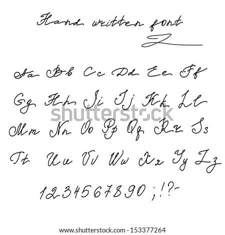 Hand Written English Alphabet Letters Vector Stock Vector