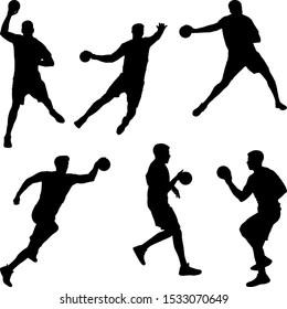 https www shutterstock com image vector handball player throwing ball set silhouettes 1533070649
