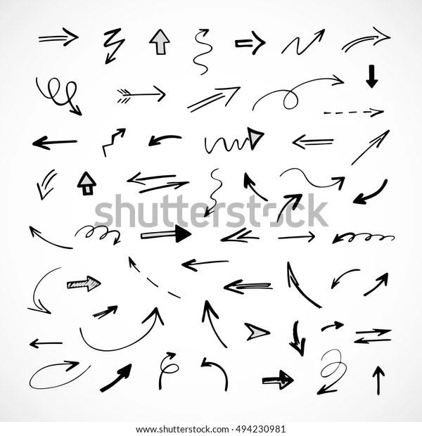 Handdrawn Arrows Vector Set Stock Vector (Royalty Free