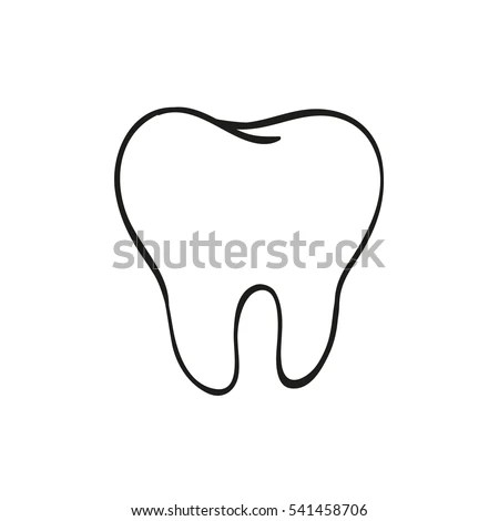 Handdrawn Black Lines Sketch Molar Tooth Vector de stock
