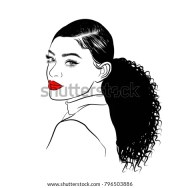 handdrawn black woman curly ponytail