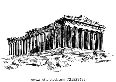 Handdrawn Drawing Famous Building Ancient Architecture