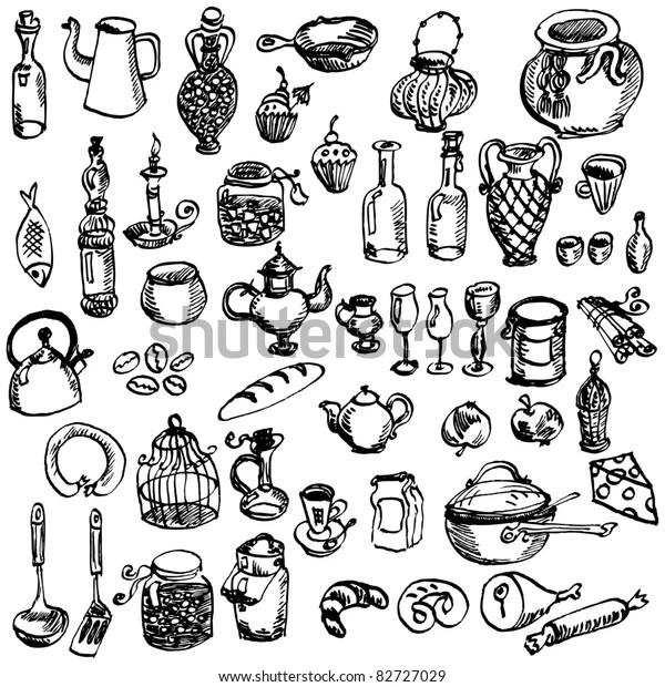 Handdrawn Kitchen Stuff Collection Stock Vector (Royalty