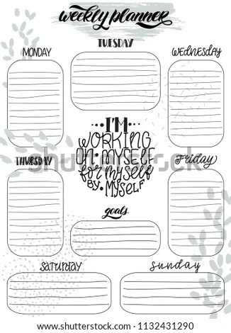 Handdrawn Weekly Do List Templates Handwriting Stock