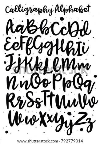Handwritten Brush Style Modern Cursive Font Stock Vector