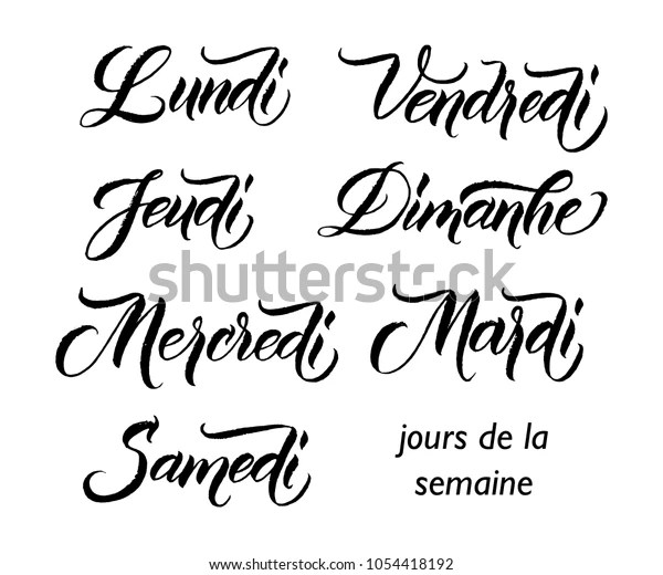 Handwritten Names Days Week French Monday Stock Vector