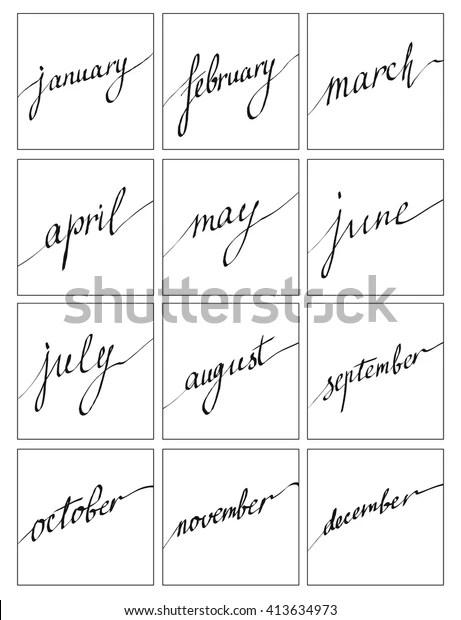 Handwritten Names Months December January February Stock-Vektorgrafik (Lizenzfrei) 413634973
