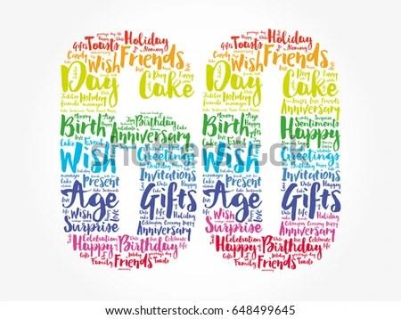 Happy 60th Birthday Word Cloud Collage StockVektorgrafik