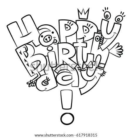 Happy Birthday Letters Coloring Vector Graphics Stock