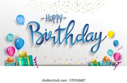 Happy Birthday Typography Vector Design Greeting Stock Vector Royalty Free 570763687