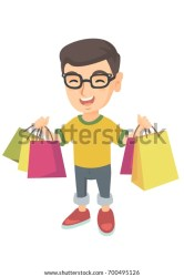 boy shopping caucasian holding happy vector bags