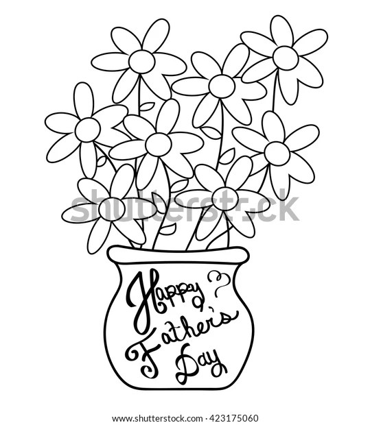 Happy Fathers Day Coloring Page Stock Vector Royalty Free 423175060