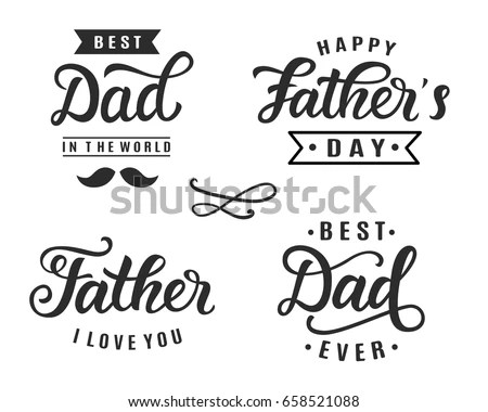 Happy Fathers Day Greeting Hand Lettering Stock Vector