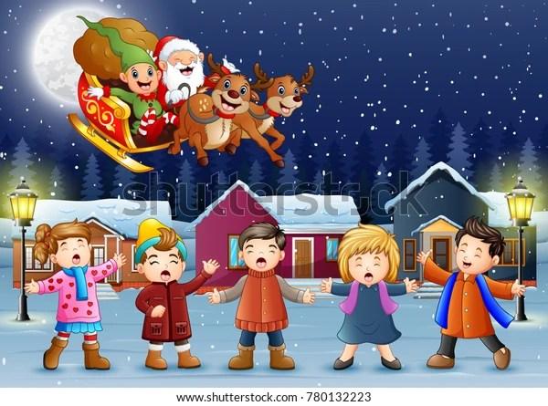 happy kids singing santa