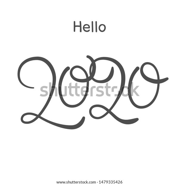 Happy New Year 2020 Greeting Card Drawing