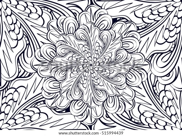 Happy New Year Coloring Pages Adults Stock Vector Royalty Free 515994439